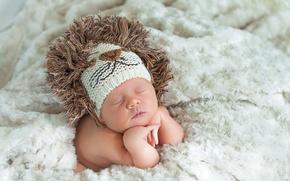 Картинка шапка, ребенок, лев, малыш, одеяло, вязанная, младенец