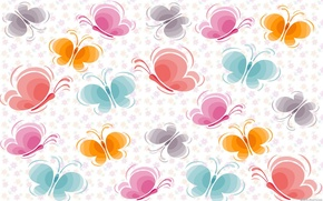 Обои бабочки, цветочки, разноцветные