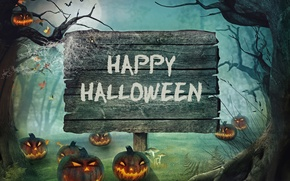 Картинка лес, Halloween, тыква, Хэллоуин, night, holiday, candles, pumpkin, Happy