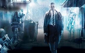 Обои Antonio Banderas, Антонио Бандерас, дождь, Automata, Страховщик, переулок, фантастика, роботы