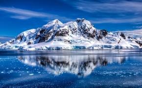 Картинка горы, отражение, океан, Антарктида, Южный океан, Трансантарктические горы