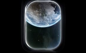 Обои Земля, Иллюминатор, Черный