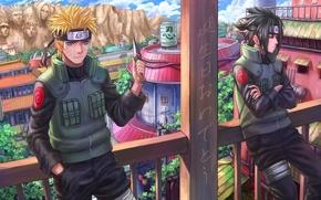 Картинка город, скала, арт, лица, нож, иероглифы, перила, балкон, парни, uchiha sasuke, uzumaki naruto, naruto shippuden, …