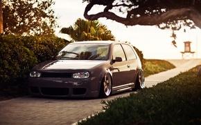 Картинка газон, Volkswagen, Golf, stance