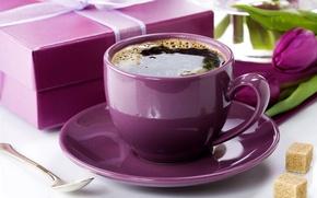Картинка фото, Кофе, Чашка, Фиолетовый, Еда, Подарки, Напитки