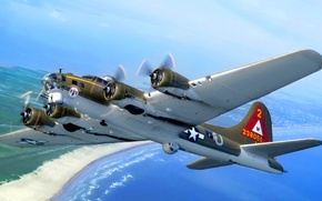Картинка море, небо, побережье, бомбардировщик, B-17, летающая крепость, Flying Fortress