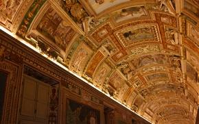 Обои Ватикан, Музеи Ватикана, галерея, коридор, потолок