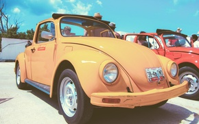 Картинка жук, volkswagen, vintage, yellow, beetle, car. vw