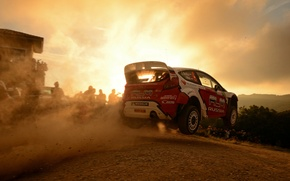 Картинка закат, фон, Ford, полёт, автомобиль, WRC, Rally, Евгений Новиков