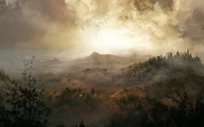 Обои замок, холмы, рисунок