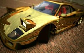 Картинка Ferrari, F40, Фары, Графика, Золотой, Суперкар, Gold, F 40