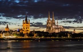 Картинка вечер, Германия, Кёльнский собор, ФРГ, город Кёльн