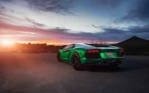 Обои supercar, Lamborghini Aventador, green