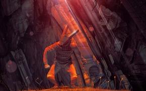 Картинка фантастика, скалы, человек, шлем, rabbit, art