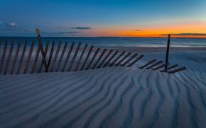 Обои ships, seascape, twilight, sand, sunset, dusk, sea, beach, horizon, fence