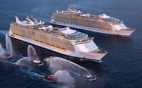 Картинка Море, Лайнер, Судно, Oasis of the Seas, Пассажирский, Встреча, Буксиры, На Ходу, Allure of the …