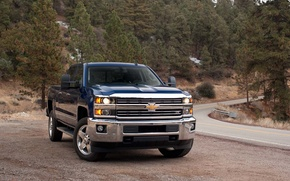 Обои chevrolet, silverado, pickup, car, road, машина