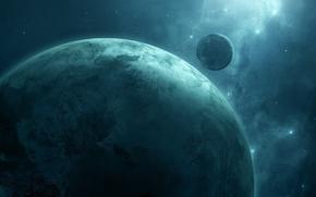 Картинка космос, звезды, туманность, планета, спутник