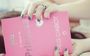 Обои настроения, фон, корона, обои, книга, розовый, книжка, украшение, девушка, кольцо