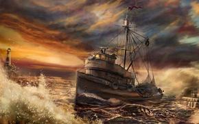 Обои волны, корабль, Рисунок