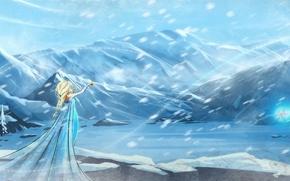 Картинка девушка, снег, мультфильм, арт, метель, frozen, холодное сердце