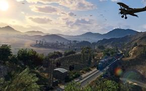 Картинка пейзаж, поезд, красота, gta, Grand Theft Auto 5