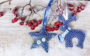 Обои снег, украшения, ягоды, Новый Год, Рождество, Christmas, wood, snow, berries, decoration, Merry