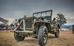"Обои автомобиль, армейский, Jeep, повышенной, проходимости, ""Виллис-МВ"", Willys MB"