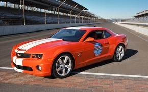 Обои Chevrolet Camaro SS, оранжевый, трасса