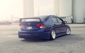 Картинка синий, honda, хонда, blue, civic, сивик, stance
