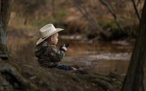 Картинка мальчик, удочка, юный рыбак