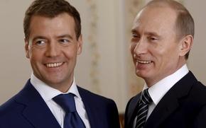 Обои политика, Дмитрий Медведев, Владимир Путин, Премьер-министр России, Президент России