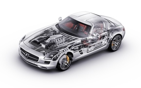 Обои Mercedes, Benz, sls, внутренности