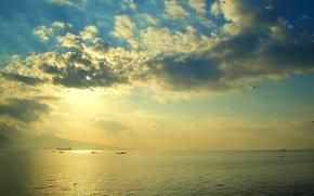 Картинка море, небо, облака, вечер