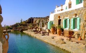 Картинка Греция, дом, вилла, Mykonos, Drakothea, бассейн