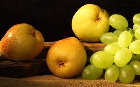 Обои желтые, виноград, фрукты, груши, fruit, grapes, pears
