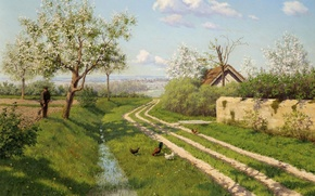 Картинка дорога, крыша, трава, деревья, пейзаж, картина, весна, деревня, домик, цветение, обочина, куры, Борис Бессонов