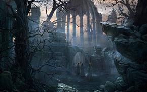 Обои камни, Дерево, Собор, храм, Монахи