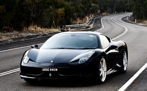 Картинка дорога, чёрный, Феррари, Италия, Ferrari, суперкар, 458, italia, передок