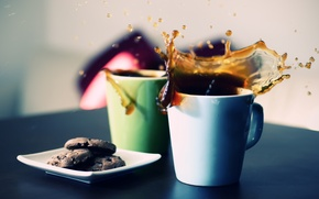 Обои брызги, стол, фон, обои, чай, картинки, всплеск, чашки, wallpapers