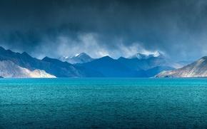 Обои Индия, тучи, озеро, Джамму и Кашмир, Пангонг, Ладакх, дождь