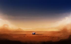 Картинка песок, поверхность, транспорт, пустыня, планета, робот, арт, исследование, марсоход