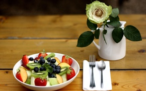 Картинка ягоды, роза, еда, киви, черника, клубника, ваза, мята, десерт, салат, фруктовый