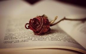 Картинка цветок, роза, книга, страницы