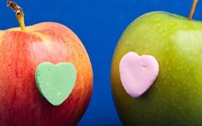 Обои сердце, сердечко, apple, яблоко, фрукт