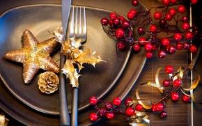 Картинка зима, стол, звезда, приборы, Новый Год, Рождество, тарелки, посуда, Christmas, черные, звёздочка, праздники, New Year, …