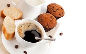 Обои кофе, сливки, сдоба, десерт, выпечка, зёрна, сладкое, кексы, булочка