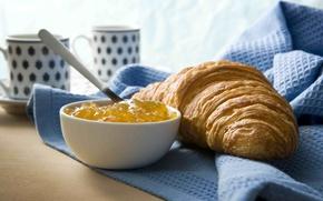 Обои круассан, чай, food, сладкое, кофе, cups, coffee, sweet, еда, чашки, завтрак, croissant, breakfast, tea