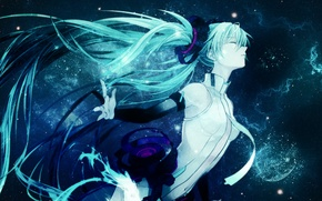 Картинка ночь, девушки, звездное небо, Обои аниме, Мику Хатсуне, Вокалоиды, длинные волосы на рабочий стол
