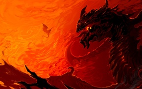 Картинка фантастика, огонь, пламя, дракон, арт